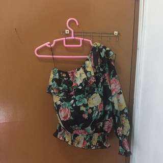 Floral One Sleeve Top