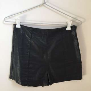 High Waisted Top Shop Leather Shorts
