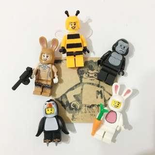 Miniman手作飾品 動物裝系列積木人偶吊飾