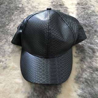Faux Leather Snakeskin Cap Silver Pewter