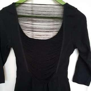 Black Fringe Back Dress