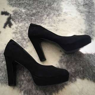 Black Heels Pumps Chunky Size 9