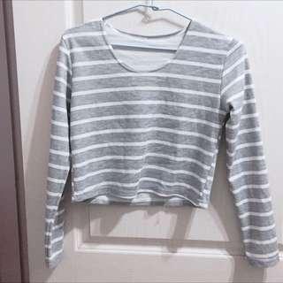 灰白條紋短版上衣