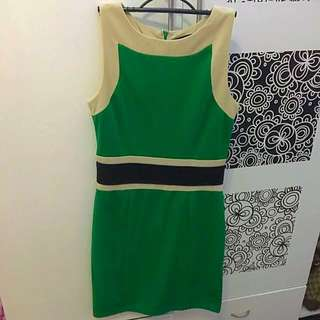 Color Block Green&Cream Dress By Chloe
