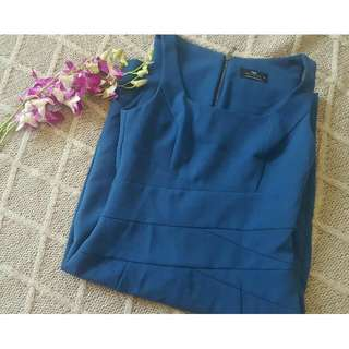 Size 8 Long Cue Blue Work Dress