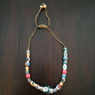 Bead Necklace Leather Tie