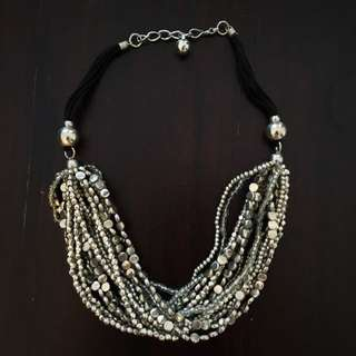 Silver Bead Layered Necklace