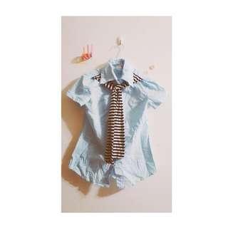 【綁帶襯衫】淺藍綁帶短袖襯衫