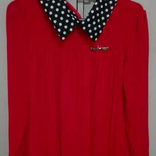 Playful Red Polka Long Sleeves, Gently Used (wore once last Christmas)