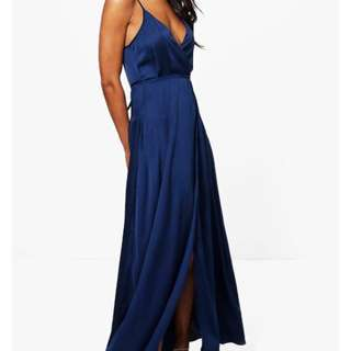 Navy Satin Maxi Wrap Dress