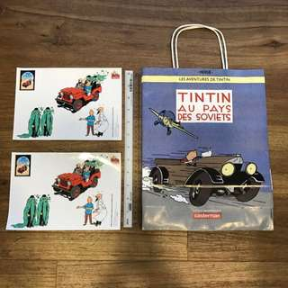 Tintin: Paper Carrier/Bag (good condition) + Stickers