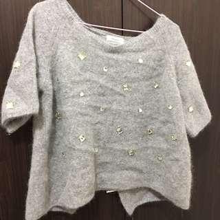 灰色後開岔短版毛衣
