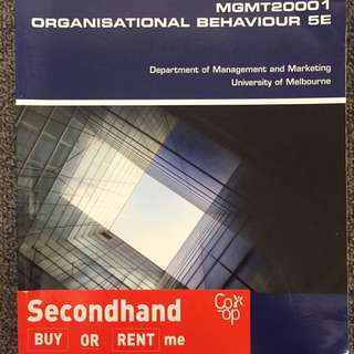 MGMT20001: ORGANISATIONAL BEHAVIOR 5E textbook