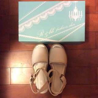 🚚 R&BB手工羊皮製涼鞋(白)Size37