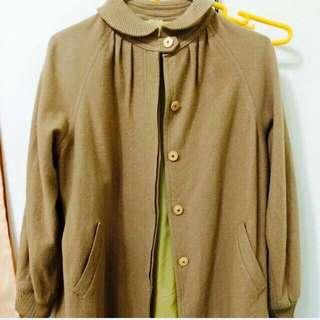 古著 褐色 圓領 大衣外套