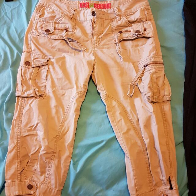 3/4 Length Beige Cargo Pants