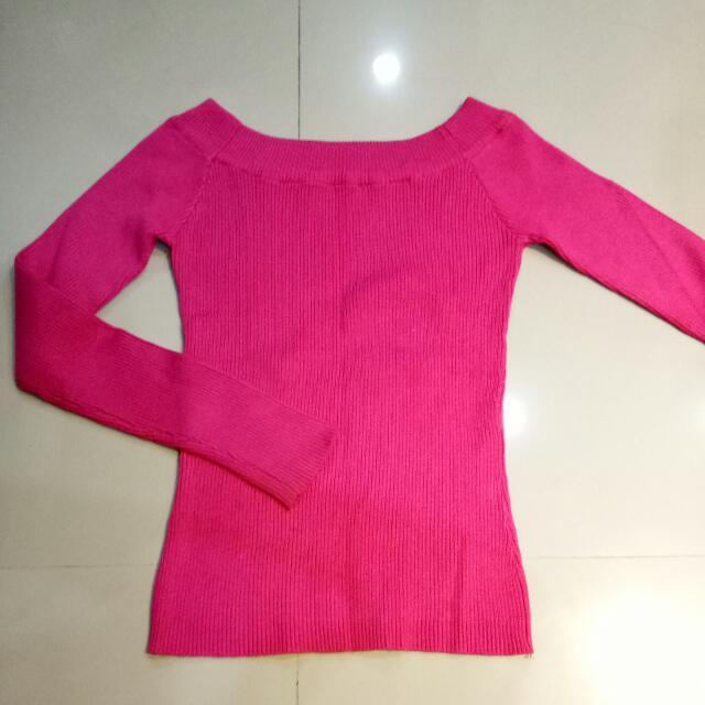 桃紅色平口針織