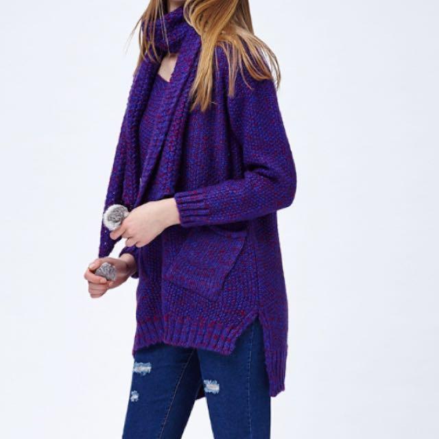 全新紫色圍巾毛線衣針織毛衣粗針織保暖厚