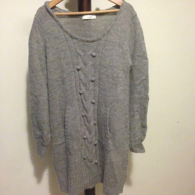 長板灰色毛衣