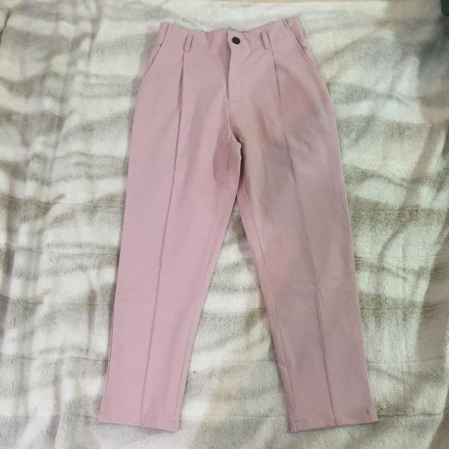 全新粉紅西裝長褲