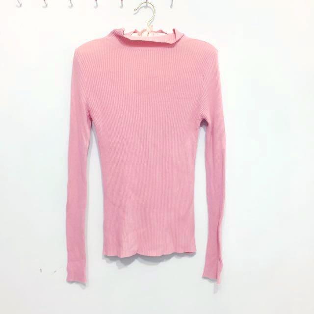 嫩粉色高領針織保暖上衣(可換物)