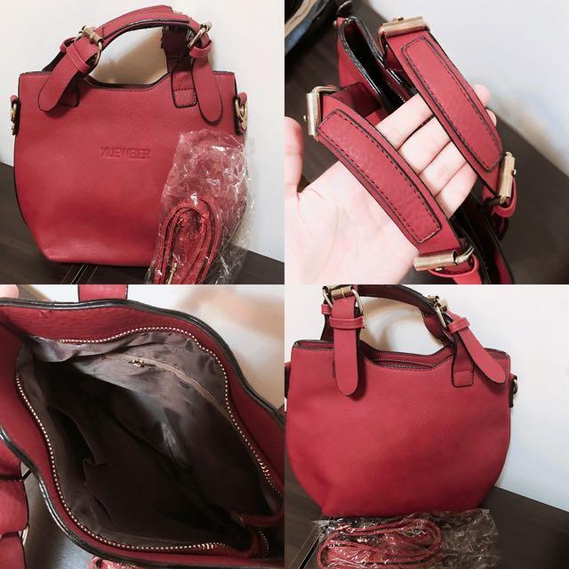 超美酒紅色 金屬感✨全新手提包 側背包 斜背包