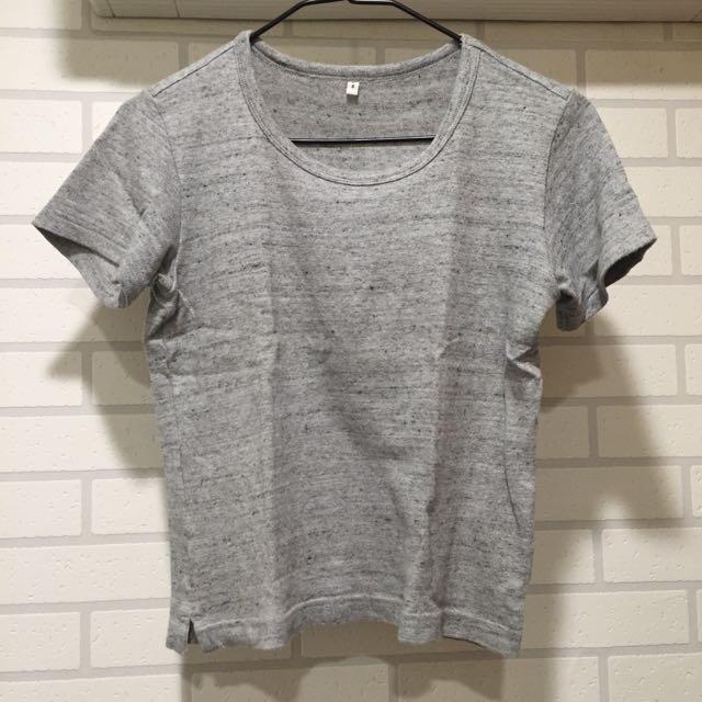 無印良品 有機棉厚短T 雜灰色