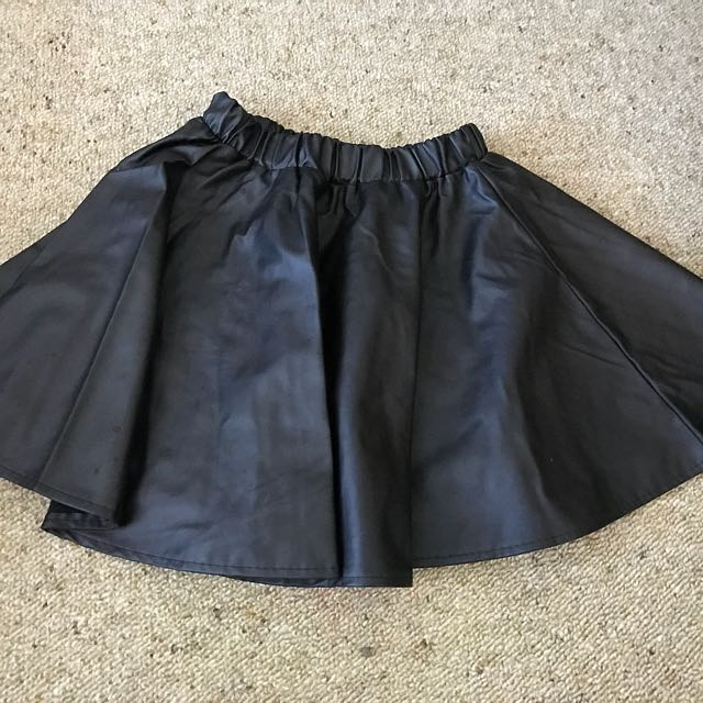 A Shaped Leather Skirt