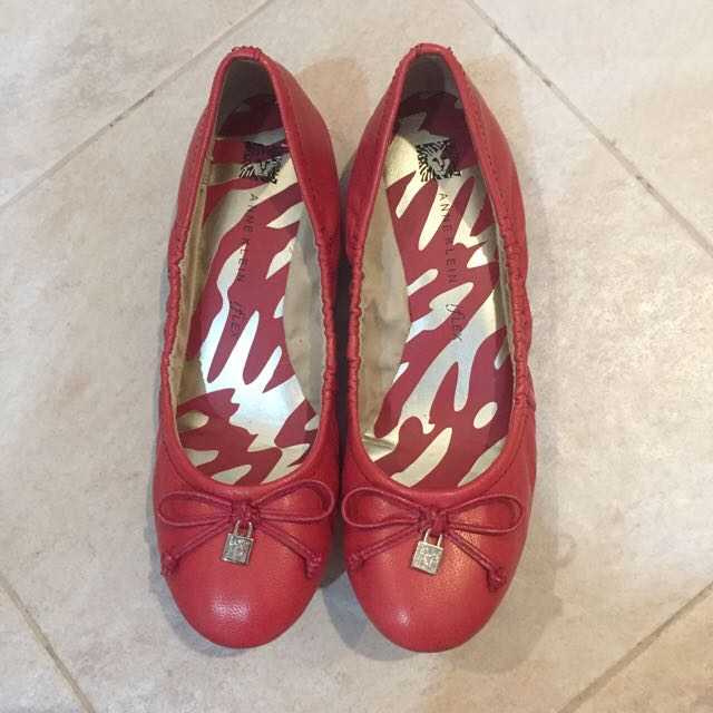 Anne Klein Red Heeled Flats