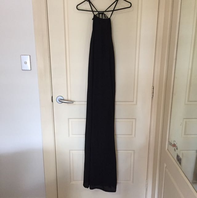Atmos And Here Tie Up Back Maxi Dress With A Small Leg Split
