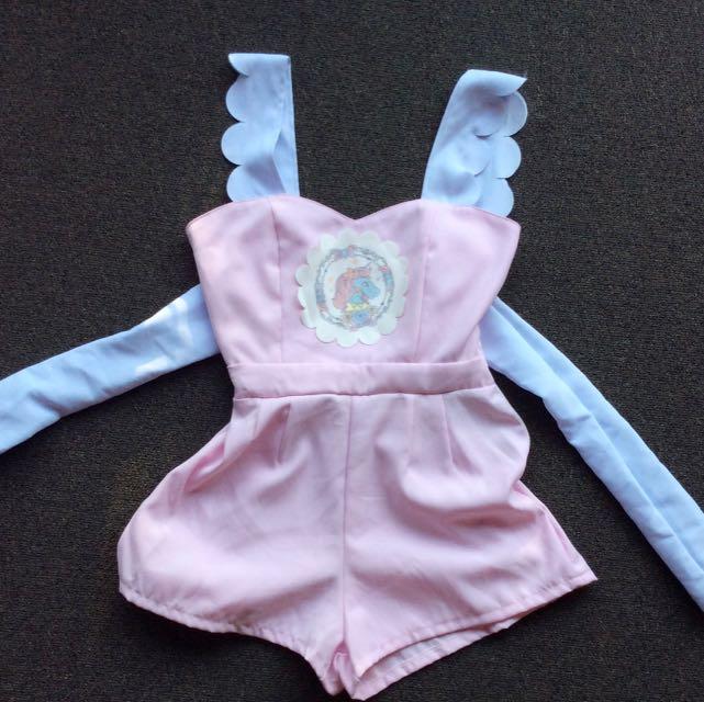 Baby Doll Playsuit Ribbon Ties At The Back
