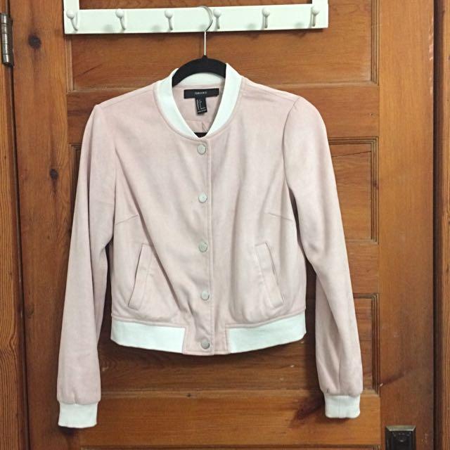 Baby Pink Suede Varsity Jacket
