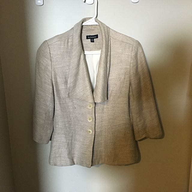 Beige Linen Tweed Blazer
