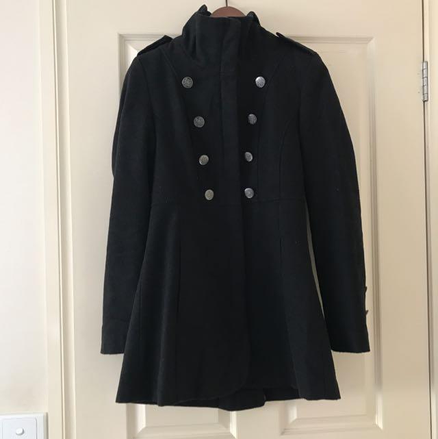 Black Trench Coat With Zip