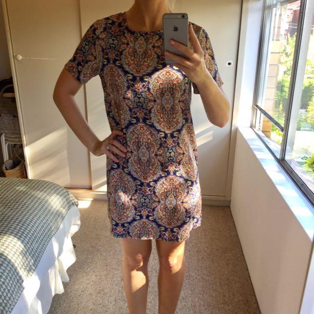 Boho Print Shift Dress, Size 8