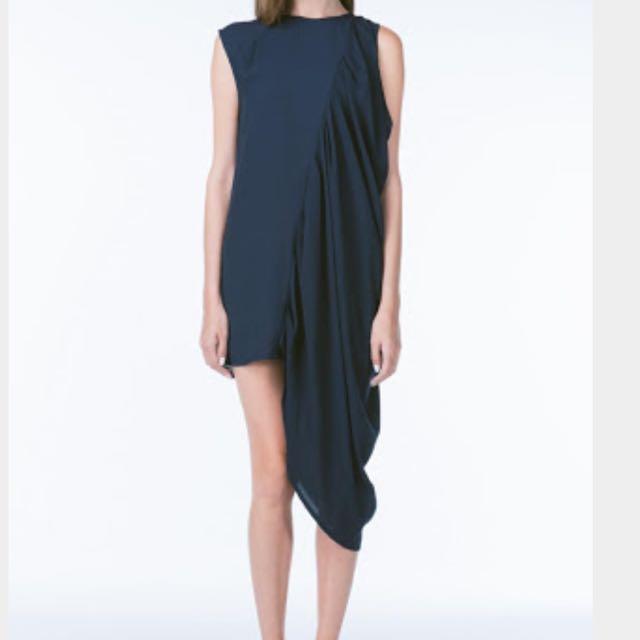 Cameo Side Drape Dress Navy - Size Large