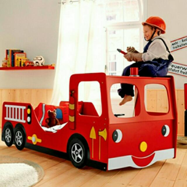 Children Fire Truck Bed Bunk Bed Frame Furniture Beds