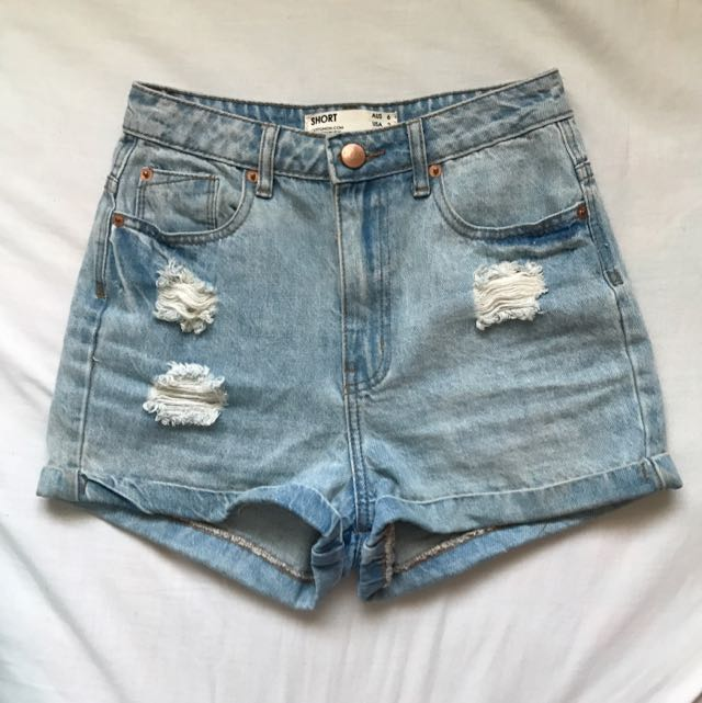 CottonOn High Waisted Ripped Shorts