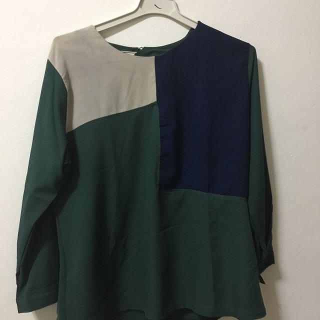 Dark Green Combination Blouse