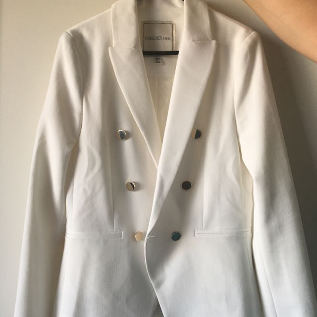 Forever New Double Breasted White Blazer Size 10 / Small