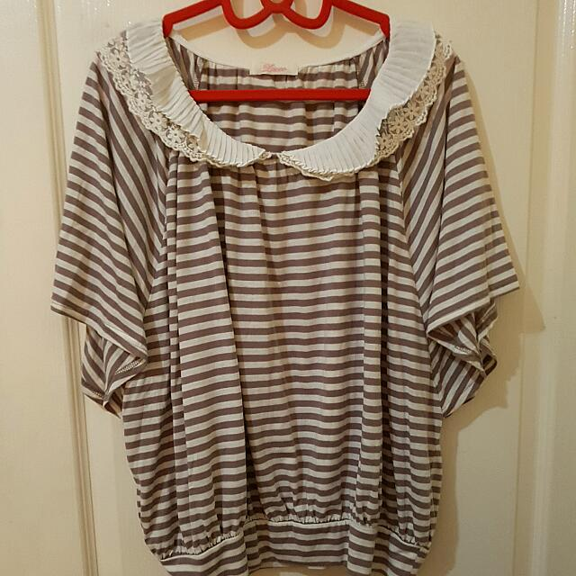 Double-layered Collar Striped Top