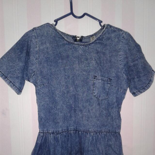 Mini Dress Denim Washed