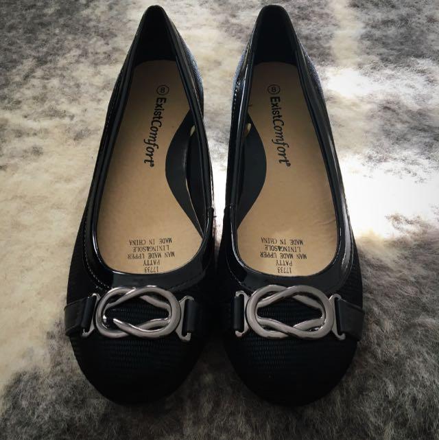 ExistComfort Ballet Flats Black Silver Chain Size 8