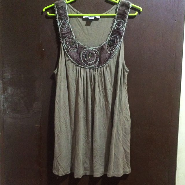 FOREVER21 BROWN SLEEVELESS