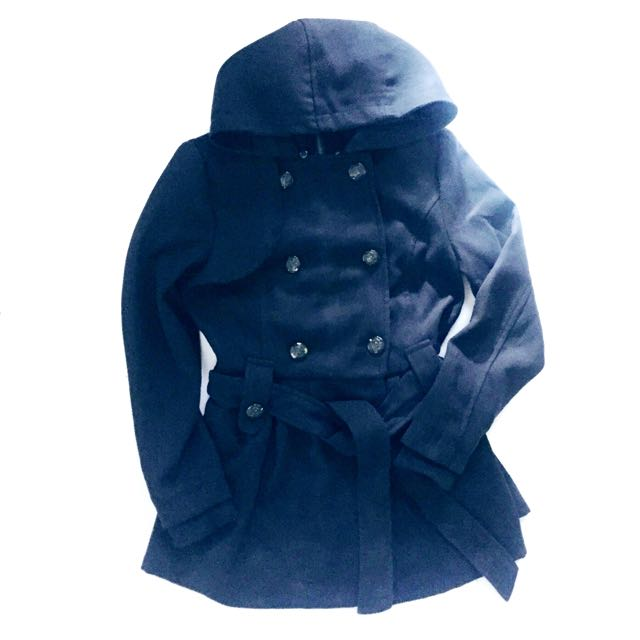 Forever 21 Navy Blue Coat With Detachable Hood