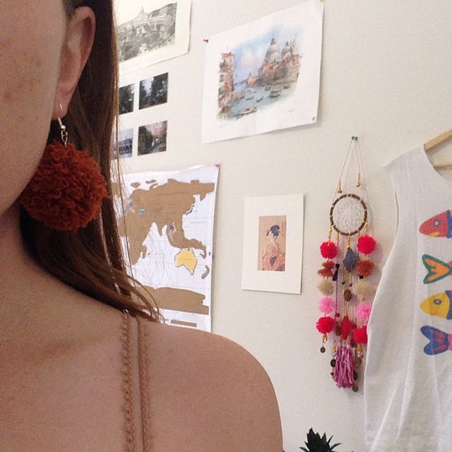 FREE With Orders Over $50 Hand Made Pom Pom Earrings