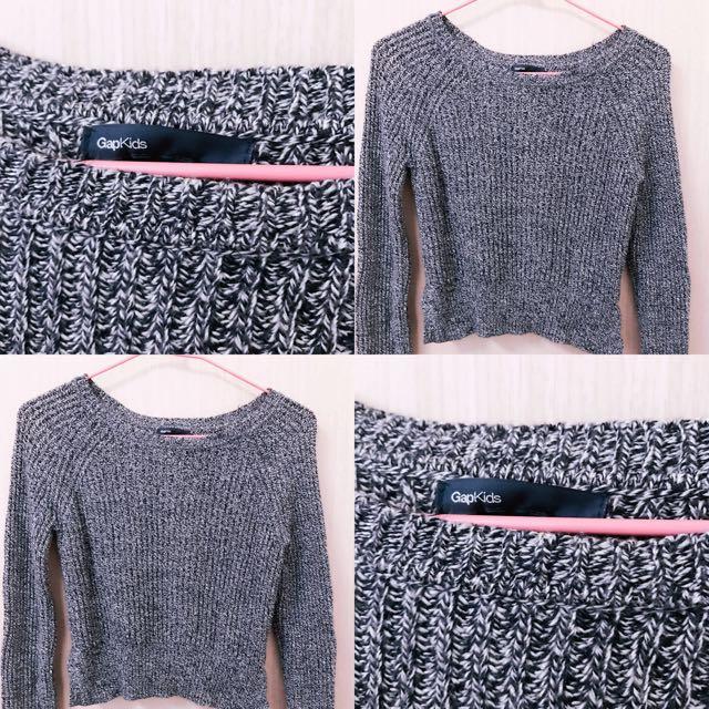 ‼️GAP深藍色混灰色針織毛衣 九成新✨‼️