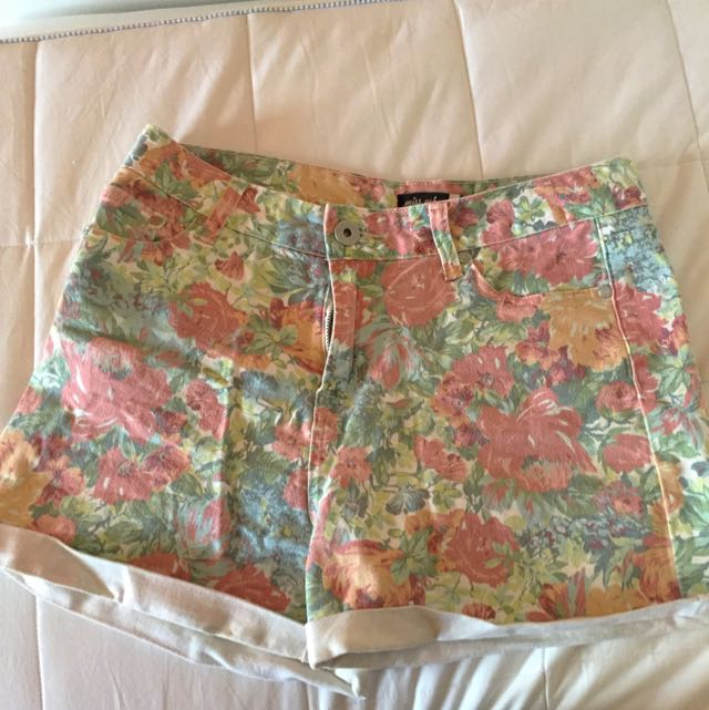 Glassons Floral High Waisted Denim Shorts