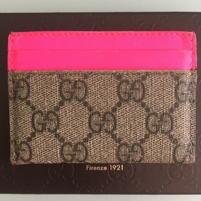 Gucci neon pink star business card case womens fashion bags gucci neon pink star business card case womens fashion bags wallets on carousell colourmoves
