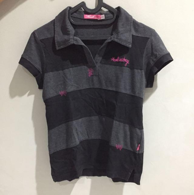Heath Black Grey Polo Shirt
